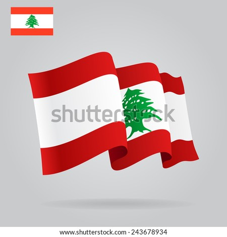 Flat and waving Lebanese Flag. Raster version - stock photo