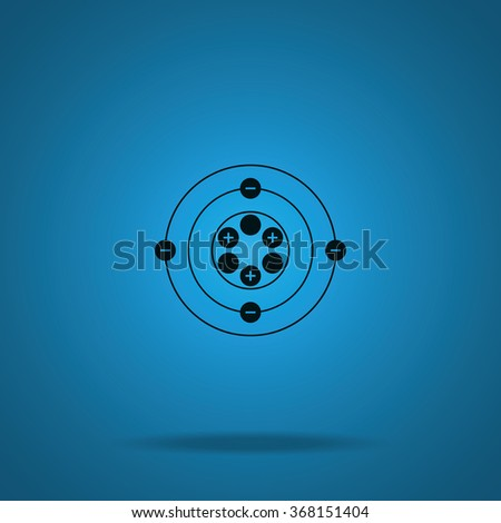 Flat atom icon. - stock photo