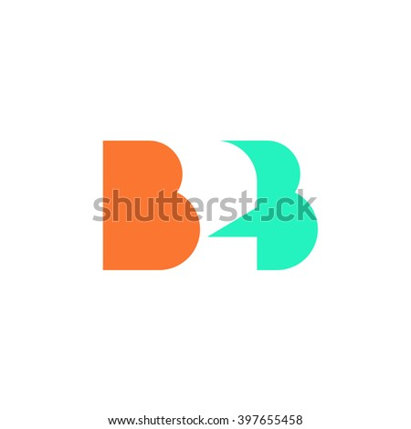 Flat B2B letters logo template design, business to business symbol, icon design isolated on white background image - stock photo