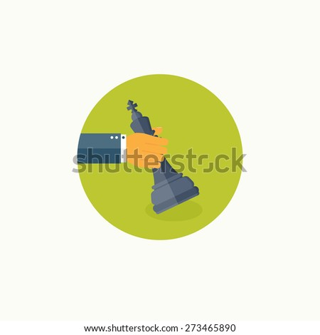 Flat background with hand and chess, business and company strategy. Development and planning. Management. - stock photo