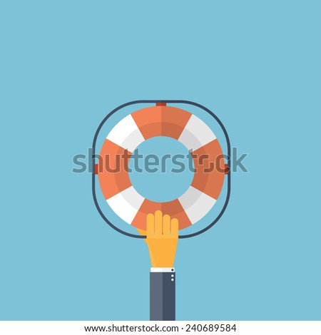 Flat background with hand and lifebuoy.  Technical support concept. Online help. - stock photo