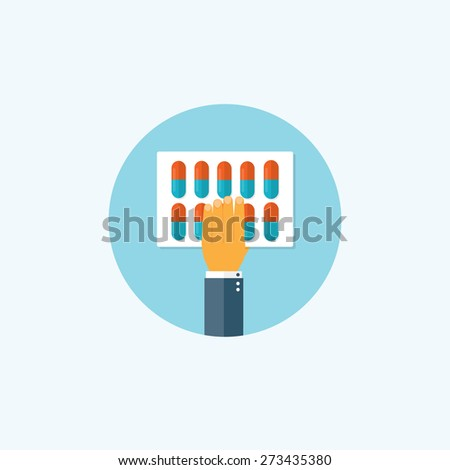 Flat background with hand and medical pills. First aid. - stock photo