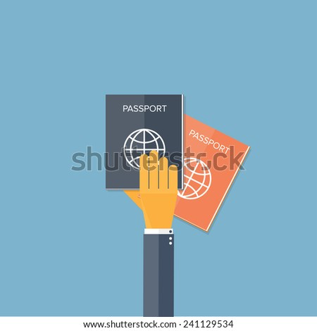 Flat background with hand and passports. Travel. Summer holidays. - stock photo