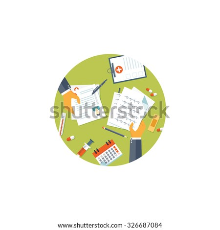 Flat background with hands and medical tools. Pills, calendar. - stock photo