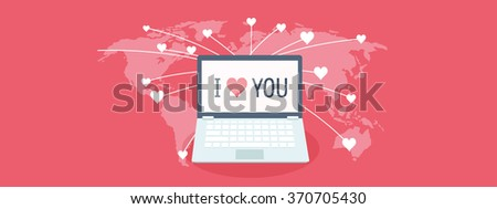 Flat background with laptop. Love, hearts. Valentines day. Be my valentine. 14 february.  - stock photo