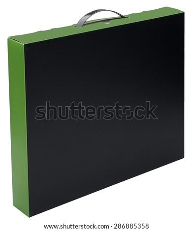 Flat black and green cardboard box with handle isolated on white. No shadow. In vertical situation. - stock photo