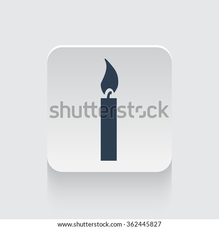 Flat black Candle Light icon on rounded square web button