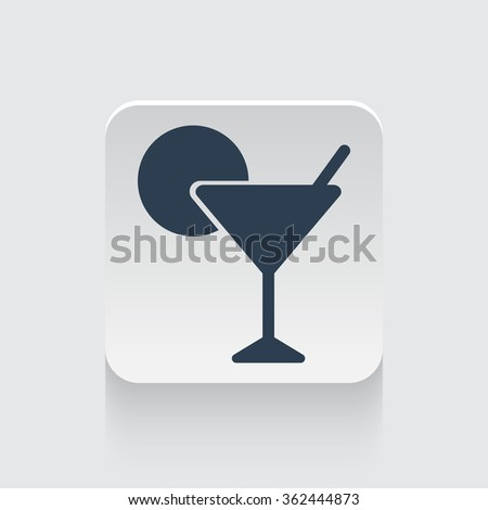 Flat black Cocktail icon on rounded square web button
