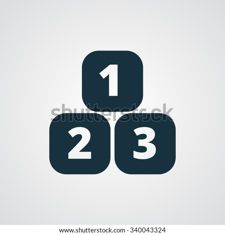 Flat 123 Blocks icon - stock photo