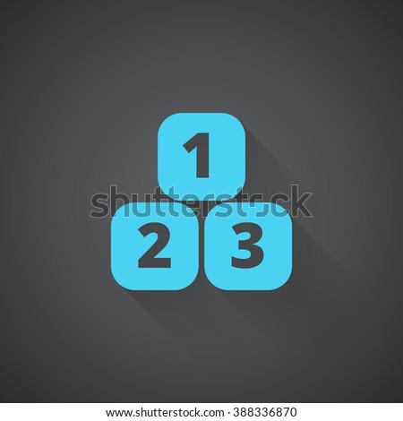 Flat 123 Blocks web app icon on dark background - stock photo