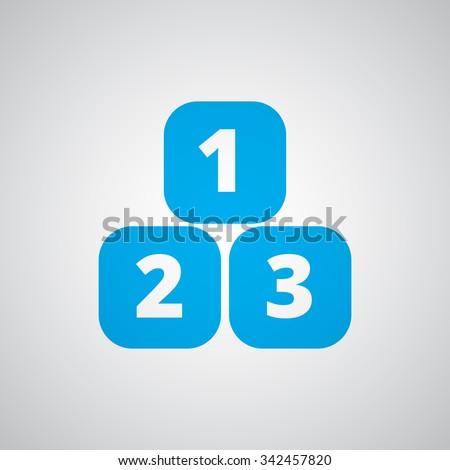 Flat blue 123 Blocks icon  - stock photo