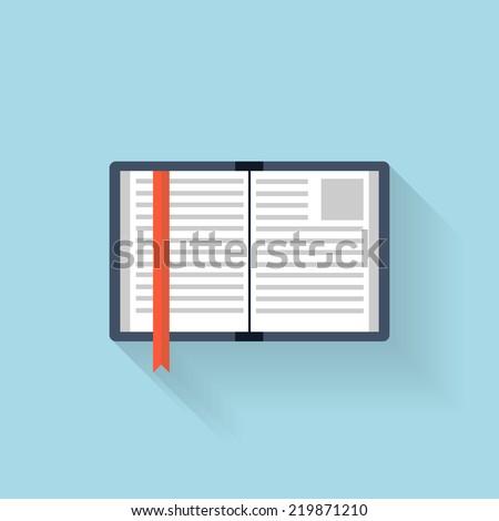 Flat book icon - stock photo