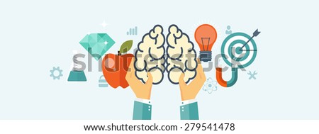Flat brainstorm background. Smart solutions and business aims. New ideas. Brains. - stock photo