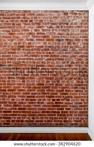 Flat Brick Wall Perspective Perfect for Painting or Picture Frame Addition - stock photo