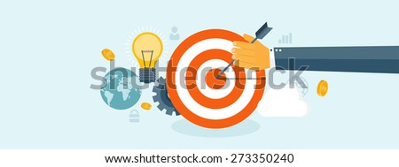 Flat business concept background. Achievements and mission. Aims and new ideas. Smart solutions.  - stock photo