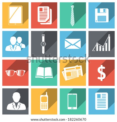 Flat business icons set with long shadows isolated  illustration