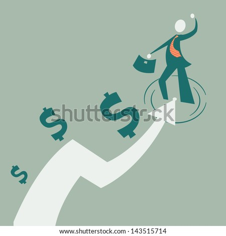 Flat businessman and arrow. Concept businessman growth. growth of business. Development of a businessman. Simple illustration of a businessman, his growth. financial path. Championship. Leader