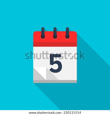 Flat calendar icon. Date and time background. Number 5 - stock photo