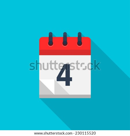 Flat calendar icon. Date and time background. Number 4 - stock photo