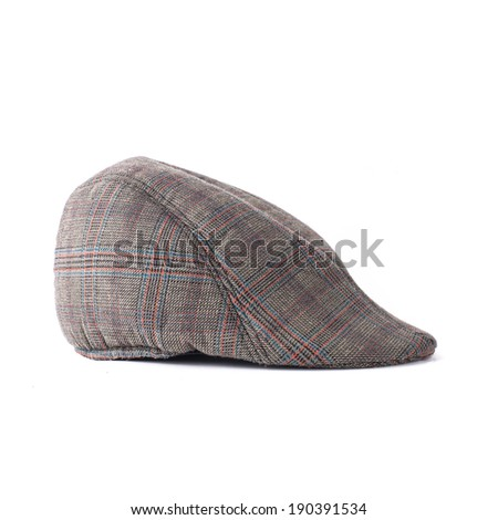 Flat cap in grey and brown tweed isolated on white background - stock photo