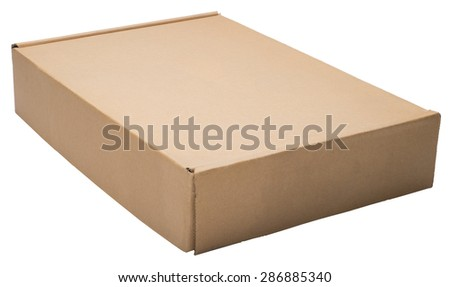 Flat cardboard box  isolated on white. No shadow. - stock photo