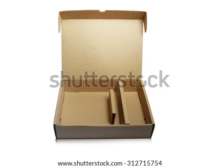 flat cardboard box with tray open on white background - stock photo