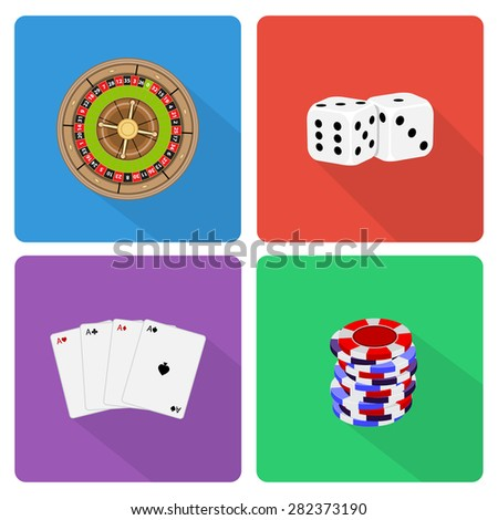 Flat casino icons with long shadow - stock photo