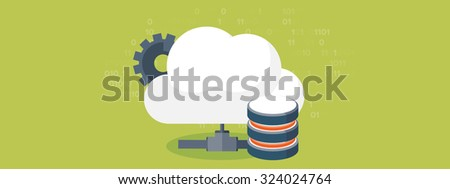 Flat cloud computing background. Data storage network technology. Multimedia content and web sites hosting. Memory and information transfer. Content security and protection. - stock photo