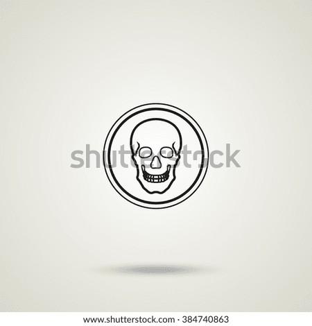 Flat Coin Skull Symbol Pirates Danger Stock Illustration 384740863