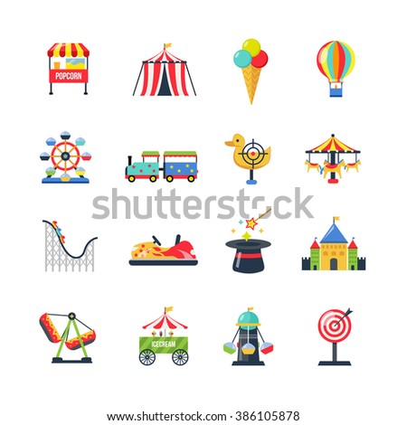 Flat Color Isolated Amusement Park Icons - stock photo