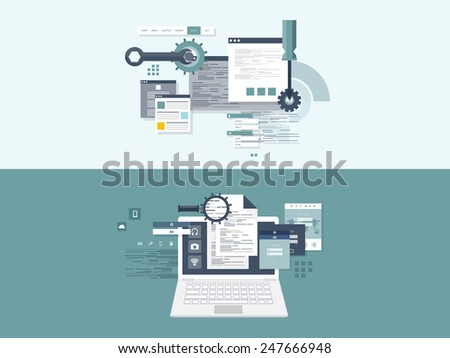 Flat computing background. Programming and coding. Web development and search. Search engine optimization. Innovation and technologies. Mobile app. - stock photo
