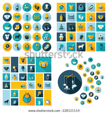 Flat concept, design with shadow, SEO. Set modern Icons mobile applications and web design. Working optimization:  Baby symbols collection. Nursery Equipment - stock photo