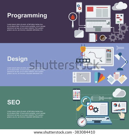 Flat Concept Icons. Web development horizontal banner set with coding seo and design elements. Raster version.