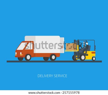 Flat concept illustration of delivery truck with forklift loading pallet with box - stock photo