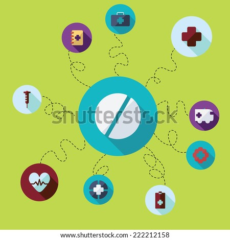 Flat concept, set modern design with shadow icons for web design and mobile applications, SEO. search Engine Optimization:  medicine