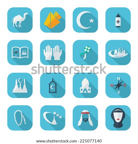 Flat concept, set modern design with shadow icons for web design and mobile applications, SEO. search Engine Optimization:  Ramadan icons - stock photo