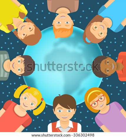 Flat conceptual illustration of children of different races around the Earth in front of starry sky. Childhood friendship worldwide. Smiling happy kids on blurred globe with copy space for text - stock photo
