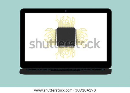 Flat Conceptual Illustration of Micro chip and Modern Laptop on a green background - stock photo