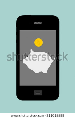 Flat Conceptual Illustration of Piggy Bank with Mobile Phone on a green background - stock photo