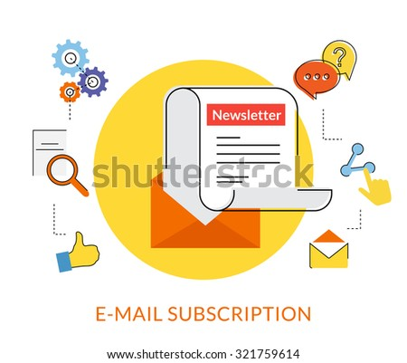 Flat contour illustration of daily newsletter with socal media line icons - stock photo
