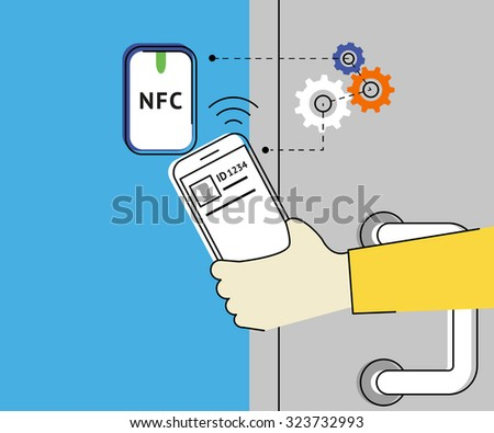 Flat contour illustration of mobile unlocking a door via smartphone using nfc function.