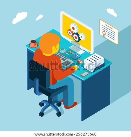 Flat 3d isometric design. Man sits in the workplace and working at a computer. Work, table, freelance - stock photo