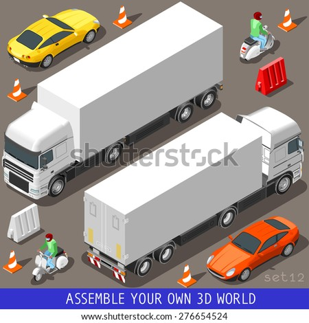 Flat 3d Isometric High Quality Vehicle Tiles Icon Collection. Truck  Articulated Lorry Coupe Car and  Motor Scooter with Delivery Man. Assemble your own 3d World Web Infographic Set. - stock photo