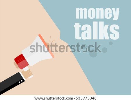 flat design business concept. money talks. Digital marketing business man holding megaphone for website and promotion banners.