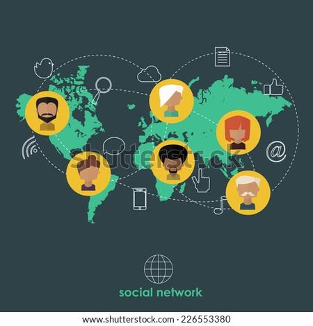 Flat design concept for social network. (raster version) - stock photo