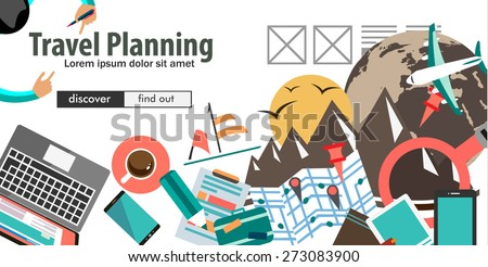 Flat Design Concept For Travel Organization and Trip Planning, room reservation, maps, find places, adventures. Ideal for printed material, paper guide, instructional brochures or flyers. - stock photo