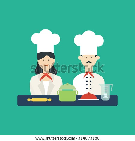 Flat design concept icons of kitchen utensils with a chefs. Cooking tools and kitchenware equipment, serve meals and food preparation elements.  - stock photo