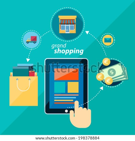 Flat design concept illustration for online shopping. Icons for online shopping, add to bag, payment methods and delivery. - stock photo