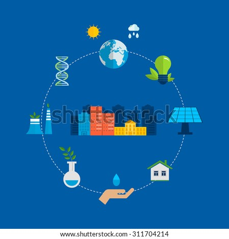 Flat design concept illustration with icons of ecology, environment and eco friendly energy. Concept of green building and clean energy - stock photo