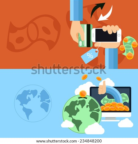 Flat design concept of mobile commerce, online shopping and global finance, economy with digital devices. Raster version - stock photo